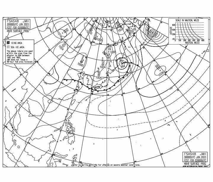 48時間後予想天気図